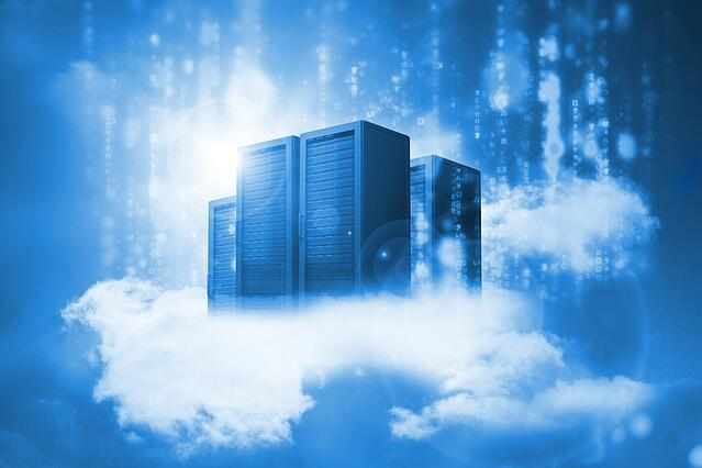Data servers resting on clouds in blue in a cloudy sky.jpeg