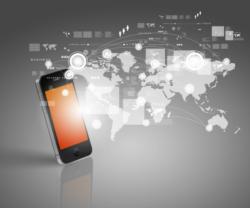 Modern communication technology illustration with mobile phone and high tech background-1