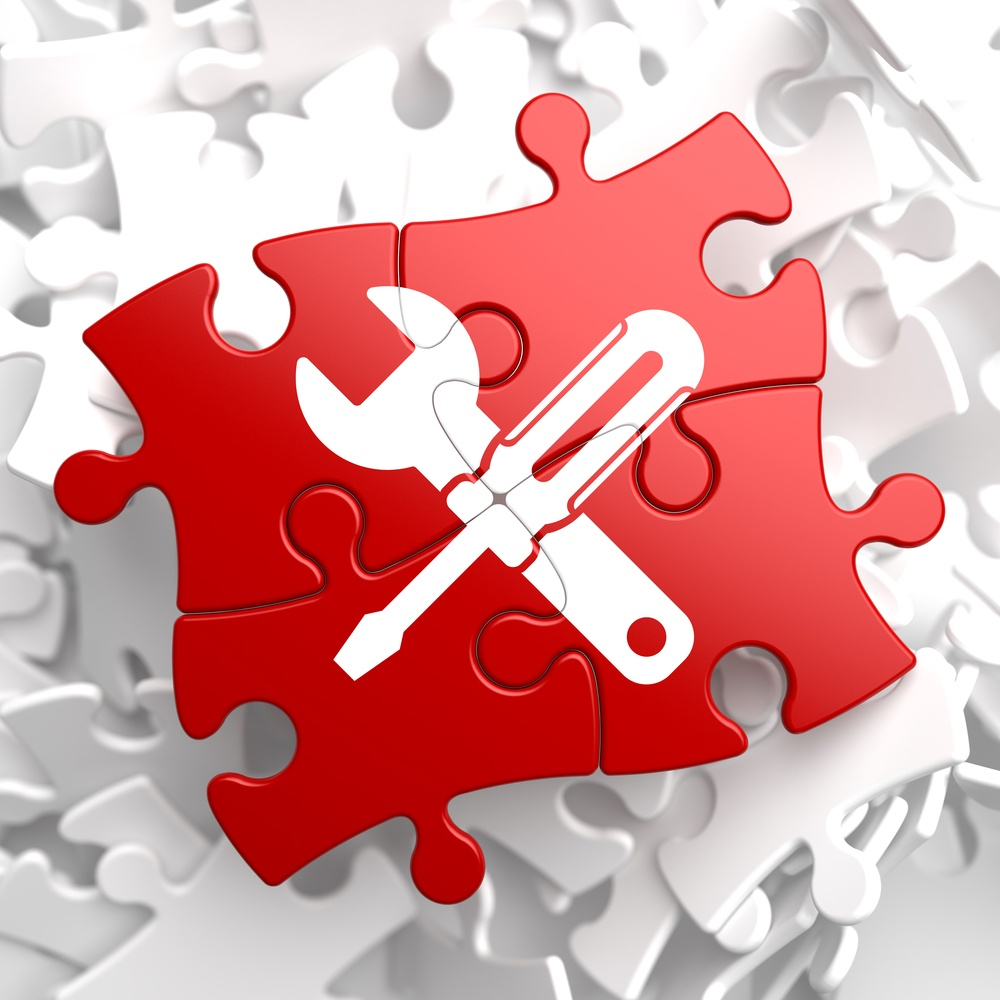Service Concept - Icon of Crossed Screwdriver and Wrench - Located on Red Puzzle. Business  Background..jpeg