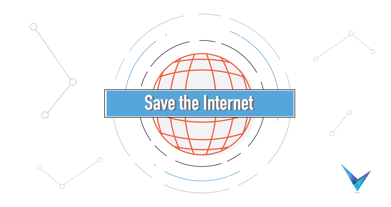 save the internet logo on globe